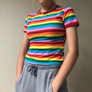 Forever 21 rainbow striped tee